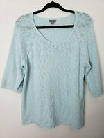 J.Jill Womens Sweater Size XL Blue Scoop Neck 3/4 Sleeve