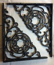 Set Of 2 Spiderweb Cast Iron Shelf Brace Brackets rustic black finish gothic