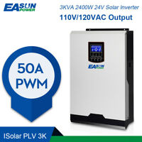 120V 2400W 24V Solar Inverter 50A PWM Off Grid Inverter 60Hz 60A Battery Charger