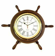 "Wooden Ship Wheel Wall Clock 18"" ~ Nautical Wall Clock ~ Home & Office Decor"