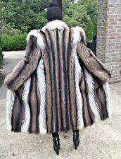 Mint Designer Full length Raccoon & White Fox Fur coat, jacket, Stroller S-M 2-6