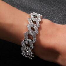 "8"" Iced Moissanite 20mm Miami Prong Cuban Link Bracelet 14K White Gold Plated"