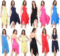 Womens Halter Neck Summer Party Evening Ladies Backless Hanky Hem Swing Dress
