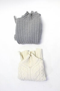 Everlane Womens Wool Ribbed Knit Turtleneck Sweaters Gray White Large Lot 2