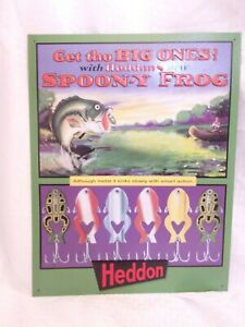 Heddon Fishing Lures Spoon-y Frog Metal Advertising Sign Colorful Man Cave