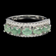 Unheated Oval Green Emerald Cz 14K White Gold Plate 925 Sterling Silver Ring 6