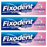 3 Fixodent Original Complete Denture Adhesive Cream Strong Food Seal Comfort 47g