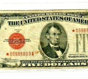 """$5 (STAR) """"1928-C"""" (STAR)  (UNITED STATES) $5 """"STAR"""" (1928-C)  CRISPY NOTE! STAR"""