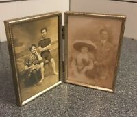 "Antique MINI DOUBLE FOLDING POCKET PICTURE FRAME 5""x3 5/8"" And 2 Photos"
