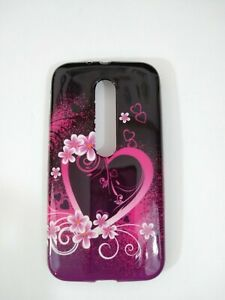 Case For Motorola Moto G (3rd Gen) - Purple Pink Heart Design Slim Back Cover