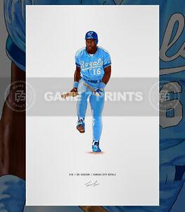 "Bo Jackson ""Breaks Bat"" Kansas City Royal Baseball Illustrated Print Poster Art"