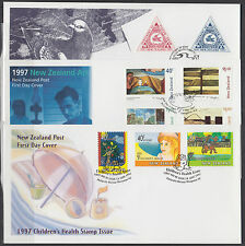 New Zealand Sc 1435-36, 1437-40, B156-58 FDCs. 1997 issues on 3 NZ Post FDCs