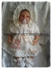 Knitting Pattern #1 (INSTRUCTIONS) Dress Set for 15-17in Reborn Doll