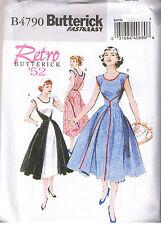 Easy Vtg 50s Retro Wrap Dress Butterick 4790 Sewing Pattern Plus Sz 16 18 20 22
