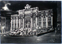 1965 cartolina ROMA notturna Fontana di Trevi