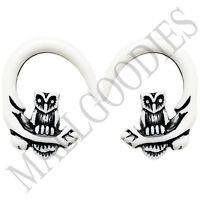 0679 Spiral Owl Taper Expander Stretcher Plugs Gauges Hoops 4G 5mm White Black