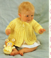"""Baby  matinee jacket  knitting pattern- fits 17-18"""" chest- 4ply wool- Vintage"""