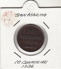 SAN MARINO CENTESIMI 10 RAME 1936 CENT, BASSA TIRATURA IN OBLO' OCCASIONE