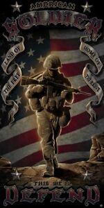 New American Soldier Beach Bath Pool Gift Towel Army Marines Veteran US Military