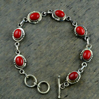 Sterling Silver 925 Natural Red Coral Gemstone Handmade Chain Bracelet