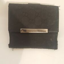 Gucci Vintage Wallet Trifold Navy Blue With Logo