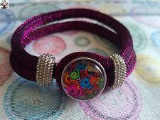 """Pulsera cordón rosa brillante botón """"snap button"""" + REGALO"""