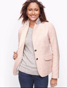 NWT Talbots Shetland Herringbone Blazer Soft Pink Size 6