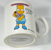"Vintage 1990 The Simpsons Bart ""Underachiever"" Coffee Mug Cup Matt Groening"