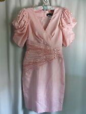 Vintage Dress Size 4 Authentic 80's Peach Dressy Pearls
