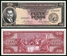 PHILIPPINES 50 PESOS P138 1949 FLAG SCENE OF BLOOD UNC MONEY BILL BANK NOTE