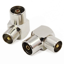 Aussel Silver Tone Plated TV PAL Female to Male Right Angle Coaxial Adapter 2 2