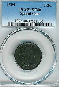 1804 Spiked Chin Draped Bust Half Cent: PCGS XF40