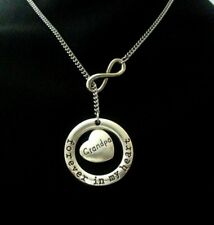 Grandpa Grandfather Forever In My Heart Memorial Loss Infinity Lariat Necklace