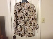 White Stag rayon XXL 20 brown beige print 3/4 sleeve button up blouse top