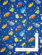 Construction Dump Trucks Blue Cotton Fabric Timeless Treasures C6114 By The Yard