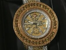 "*BREITLING* ""Super Avenger"" A13370 Watch 27 Carat Yellow Diamonds 54MM HUGE!"