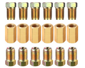 """18 Piece 3/16"""" (3/8-24 Inverted) Brake Line Fittings & brass Unions"""