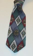 PIERRE CARDIN Multi-Color 100% Silk 58 Inches Long Geometric Men's Necktie