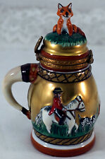 Limoges Trinket Box Shaped Like Stein Fox Hunt with Rider Dog Fox on Lid Signed