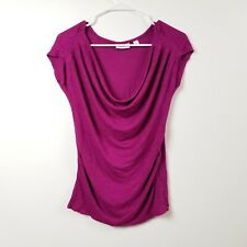 NY&C Womens Blouse Top Shirt S Small Purple Solid Career Work Formal