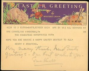 Telegram to Mrs. Cornelius Vanderbilt from H Armstead Signed Grace Vanderbilt