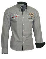 Herrenhemd Herren Hemd shirt kariert bestickt Binder de Luxe 81404 schwarz