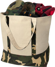 Large Canvas Tote Shopping Bag Camo Reusable Grocery Two Tone Carry All