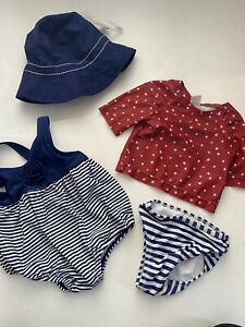 Infant Girl Swimsuit Hat Lot Sz 3-6 Months Nautical Navy Red