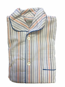 Turnbull & Asser Men's Blue/Orange Pinstripe 2-Pc Pyjama Set PYR2624 Sz S $570