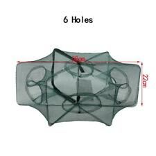 6 Holes Automatic Fishing Net Shrimp Cage Nylon Foldable Crab Fish Trap Cast
