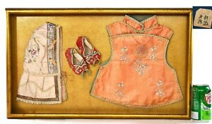 1930's Chinese Silk Embroidery Child Robe Clothes Hat Shoes Serpentine Plaque