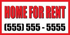 2'x4' HOME FOR RENT CUSTOM NUMBER Sign Vinyl Banner house condo apartment