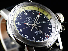NEW Glycine 42mm AIRMAN World Traveler Swiss Made GMT Black Dial SS Watch 3939