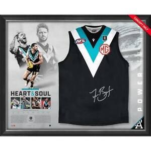 Travis Boak Signed 300 Game Official Port Adelaide Jumper Framed - 4809